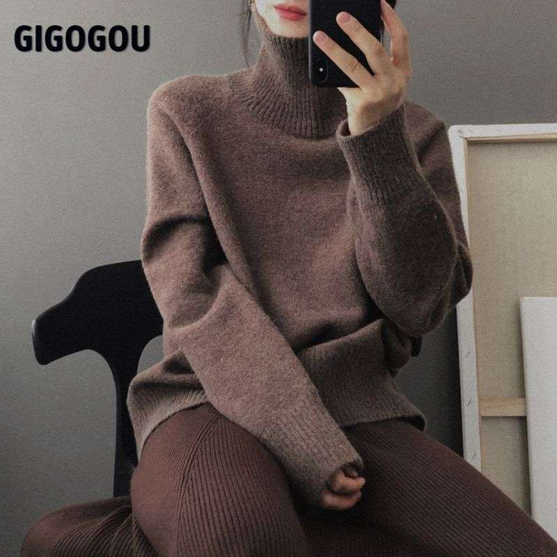 Sweater Oversize Loose Jumper Long-Sleeve Wool Cashmere Women Turtleneck Warm GIGOGOU