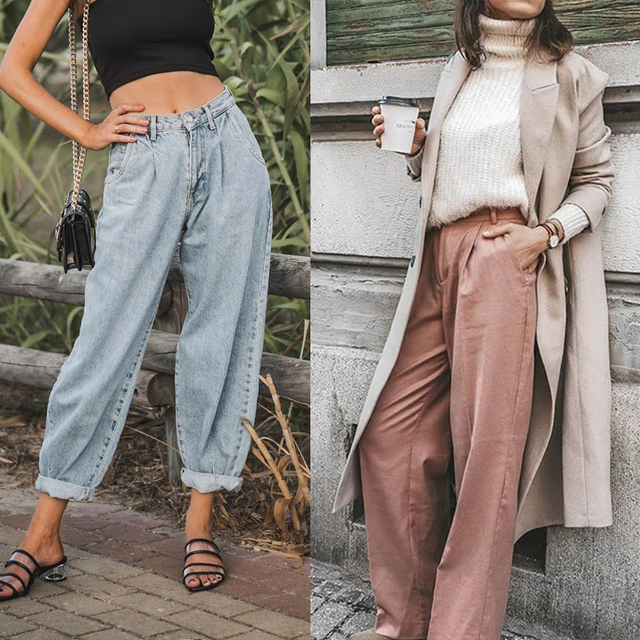 High Waist Loose Slouchy Pockets Boyfriend Pants Casual Ladies Denim Trousers 5