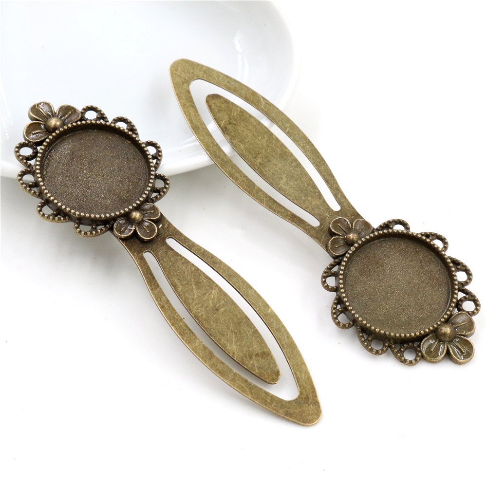 New Fashion 2pcs 20mm Inner Size Antique Bronze Vintage Style Handmade Bookmark Cabochon Base  Cameo Setting (I1-15)