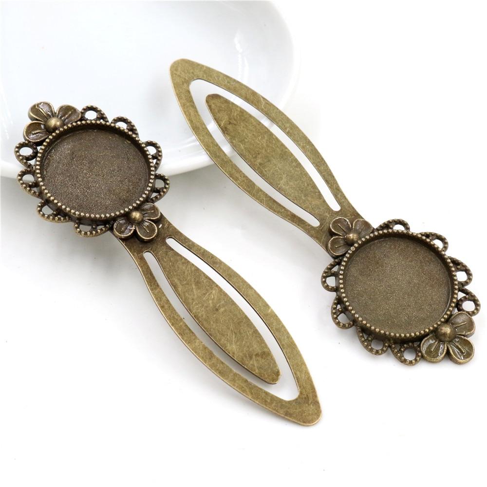 New Fashion 2pcs 20mm Inner Size Antique Bronze Vintage Style Handmade Bookmark Cabochon Base  Cameo Setting (I1-15)