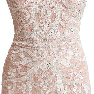 Image 5 - Prawdziwy obraz długie koronkowe Mermaid suknie wieczorowe szybka dostawa cekinami O Neck otwórz wróć kobiety formalne sukienki na przyjęcie OL212