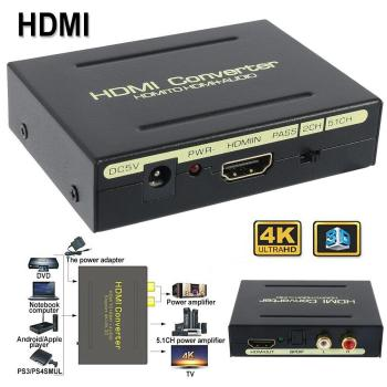 HD 1080P HDMI To HDMI Optical SPDIF RCA R/L Analog Audio Splitter Hdmi Converter Adapter for TV Box Laptop HDTV PS3 Game Machine image