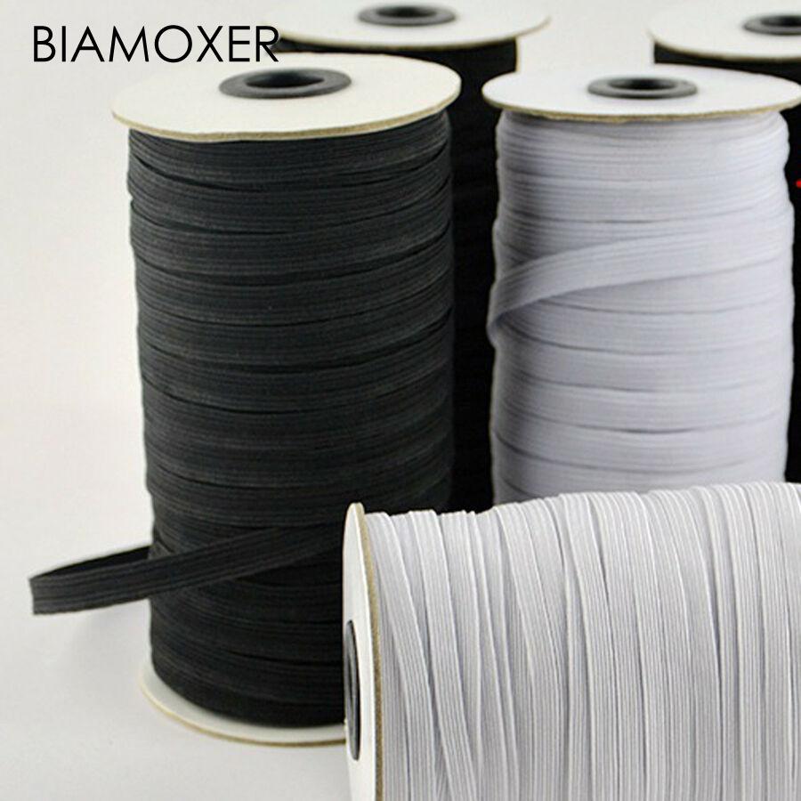 "3/16"" 1/4"" 3/8"" Flat Elastic Trim Black/White Braided 3/5/6 Mm Rubber Strap Stretch DIY Sewing"