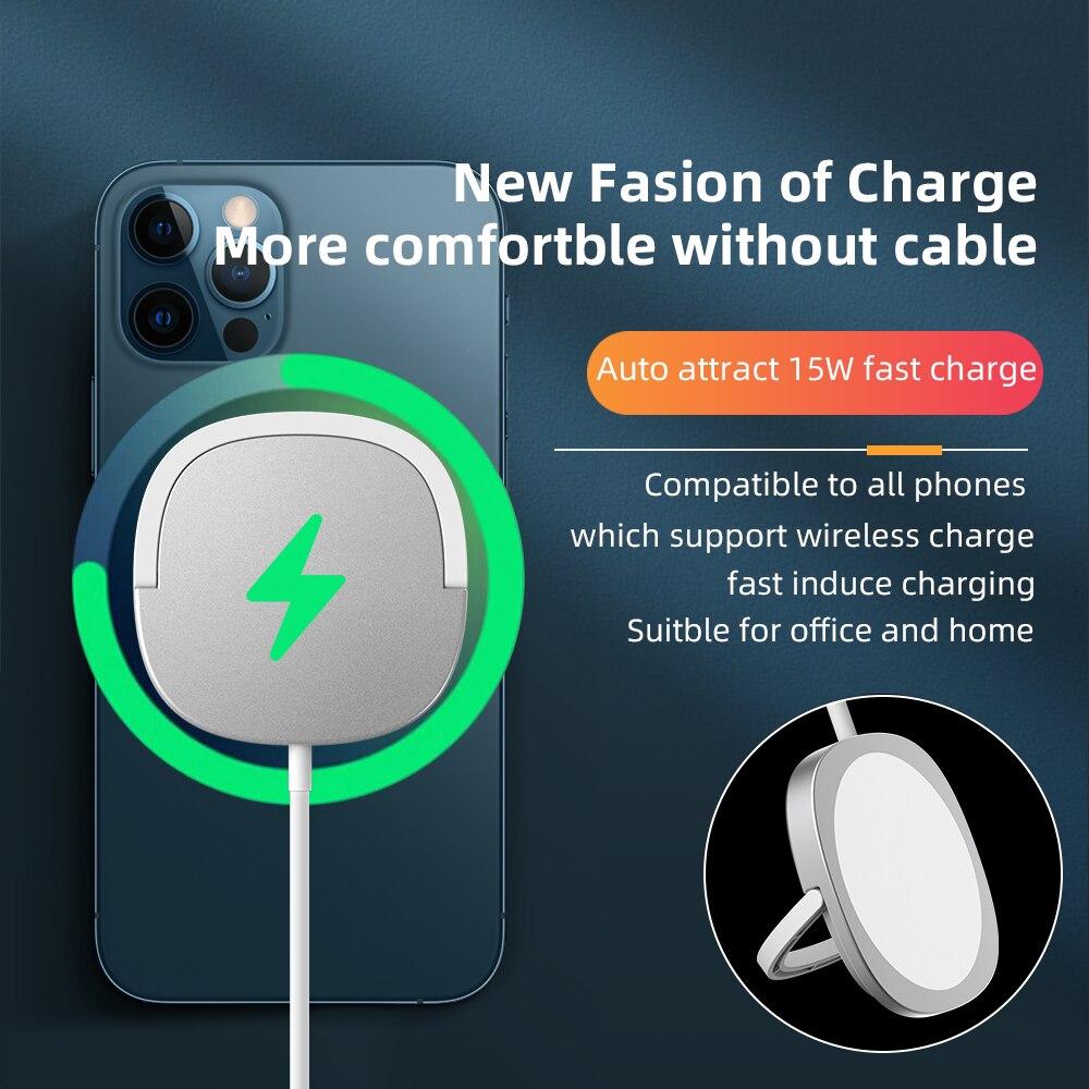 Ring Schnelle Drahtlose Ladegerät Smart Schnell QI 15W Leistungsstarke Ladung Voller Nacht Leichtigkeit Magnetische Unterstützung Alle Handys Auto Attrac einfach