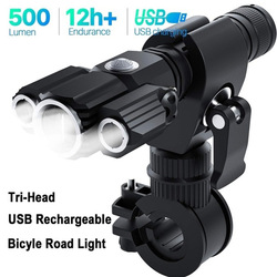 Bike Light Aluminum Alloy Multi-function Strong Light Three Lamp Head Aircraft-shaped Flashlight Outdoor Bicycle Accessories