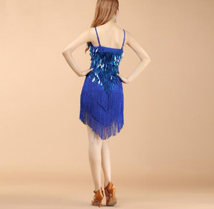Image 5 - Wholesale Women Fringe Latin Dresses Girls Competition Tassel Dance Performance Costume Golden Cheap On Sale
