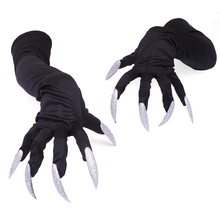 Halloween Long Nails Gloves Scary Witch Cosplay Costume Halloween Party Adult Fancy Props Black Gothic Gloves(China)