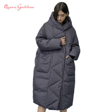 Winter and Autumn Outwear Women White Duck X-Long Down Warm Jacket in Hooded Fashion Cocoon Parkas Plus size 7XL design(China)