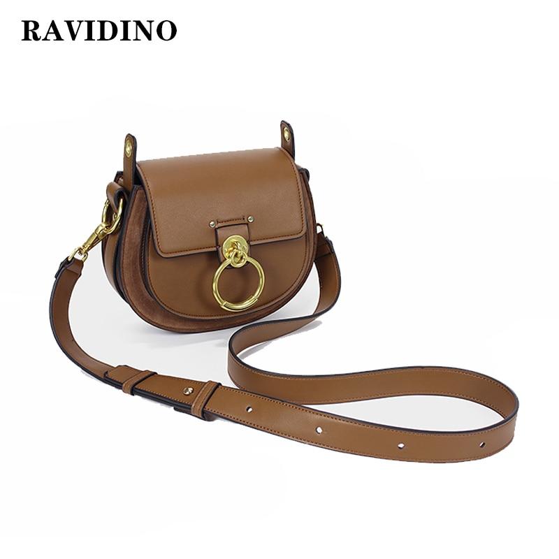 2019 Hot Sale Female Handbags High Quality Genuine Leather Women Shoulder Bag Metal Ring Designer Ladies Small Crossbody Bag