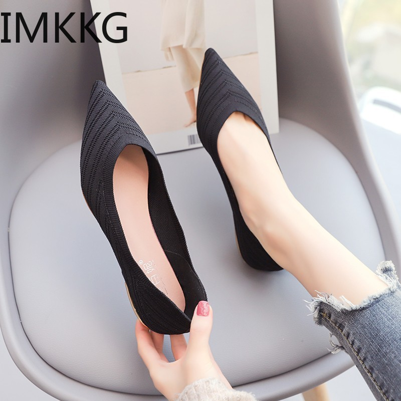 Women Ballet Flats Shoes Slip On Pointed Toe Ladies Casual Shoes Knitting Comfortable Soft Loafers Shoes For Pregnant Woman