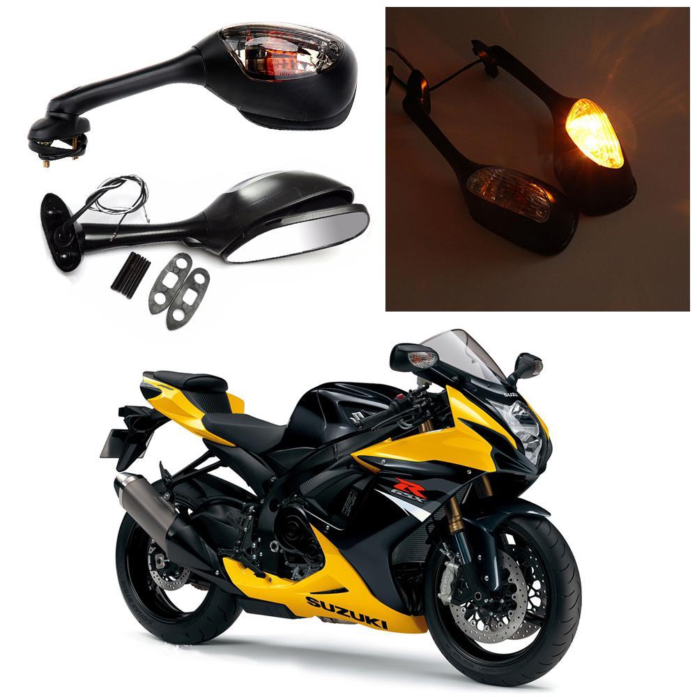 TWISTER.CK Motorcycle Rearview Side Mirrors For Suzuki GSXR 600 750 Turn Signal Light Reflector For Suzuki Mirror Car Light