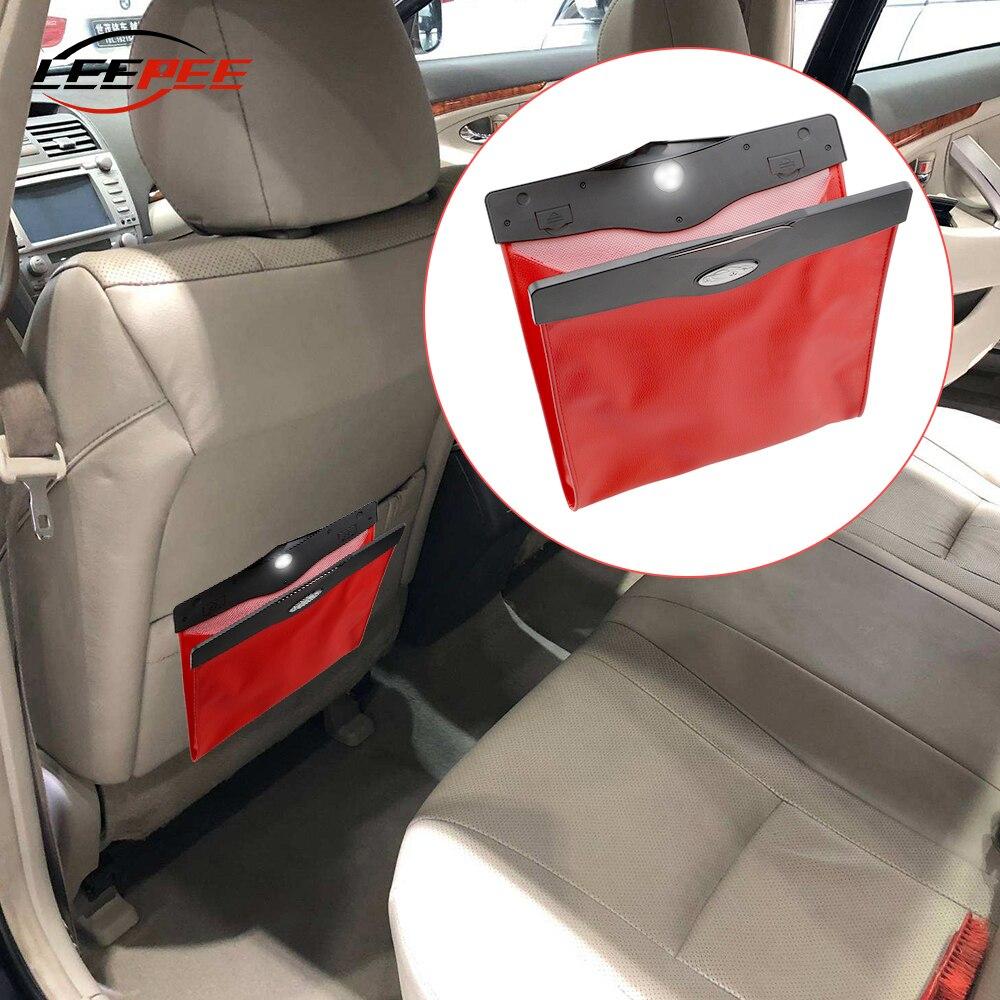 PU Leather Car Trash Bag Storage Box Organizer Hanging Style LED Light Decoration Useful Auto Accessories Interior