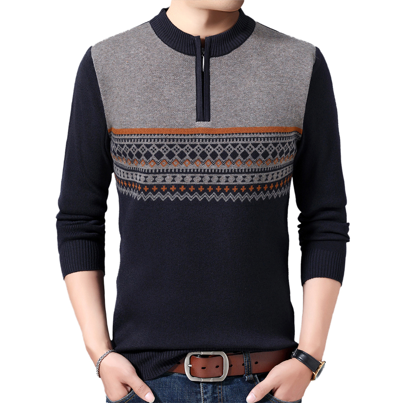 Spring Autumn Men's Round Neck Pullover Warm Casual Knit Bottoming Shirt Trend Personality Slim Striped Youth Wild Sweater