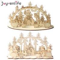 1set Weihnachten Kreative Tisch Holz DIY Dekoration Schneemann Kirche 2020 Neue Jahr Weihnachten Dekoration für Home Navidad Dekoration