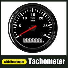 Barco carro Bitola Tacômetro Horímetro LCD 0-3000 4000 6000 Sensor de RPM Tacho Marinha Metros Tacho 12V/24V Vermelho Backlight