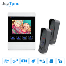 JeaTone 4 inch TFT Wired Video Door Phone Intercom Doorbell Home Security Camera System Picture Memory& Recording function