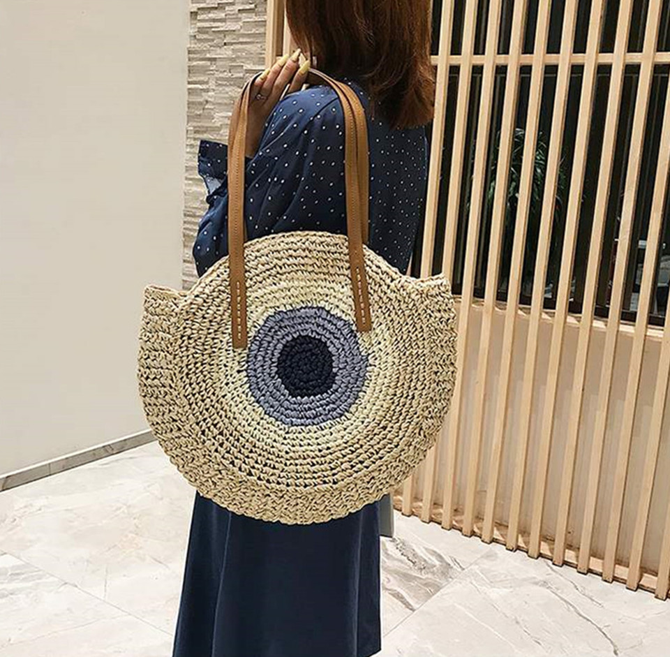 Handmade Straw Circle Bags,