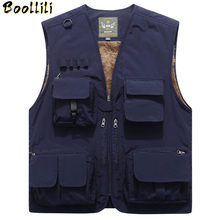 Large Size 5XL Men Multi-pocket Winter Fleece Thicken Warm Vest Waistcoat Photography Fishing Outdoor Tactical Sleeveless Jacket(China)