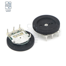 10PCS/Lot B103 10K Ohm 3 Pins Dial Wheel Potentiometer Audio Stereo Volume Gear Switch Control for Radio MP3 MP4 Player