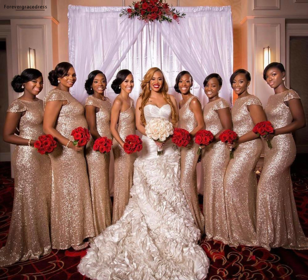 2019 Rose Gold Sequined Bridesmaid Dress Mermaid Long Country Garden Formal Party Guest Maid of Honor Gown Plus Size Custom Made