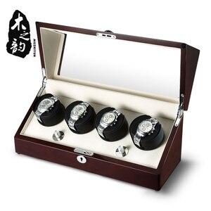 Reloj caja enrolladora caja de almacenamiento Shaker pantalla automática de madera cuatro motores 4 ranuras reloj enrollador rotación organizador titular Piano
