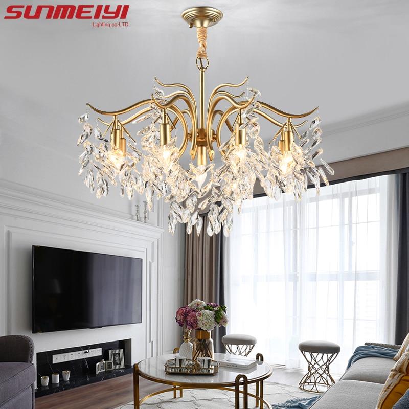 Lustre de cristal led nórdico, lustre preto e dourado, iluminação de luxo, cozinha, sala de jantar, quarto, luminária