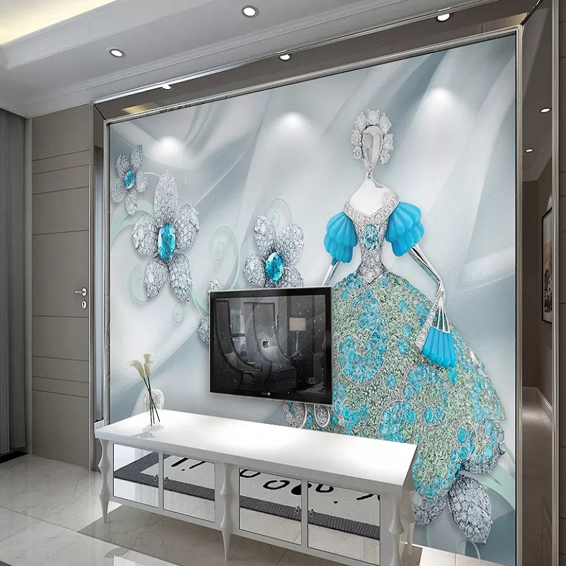 Custom Large Mural 3D Wallpaper Fashion Modern Luxury Creative Abstract Wedding Jewelry Living Room TV Wall Decor 5D Embossed