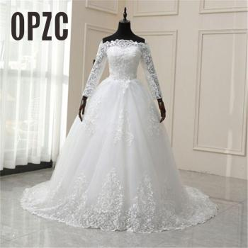 Luxury Lace 100cm Train Wedding Dresses Long Embroidery Ball Gowns White Ivory Boat Neck off shoulder Full Sleeve Tulle Bridal - discount item  30% OFF Wedding Dresses