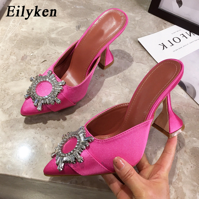 Eilyken 2020 Sun Flower Crystal Fashion Women Pumps Sexy Rhinestone Spike High Heels Party Silk Pointed Toe Mules Slippers