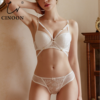 CINOON New Top Removable Bandage Underwear Women Bras Lace Lingerie set Embroidery Sexy Lingerie Push-Up Bra Set Underwear high waist sexy underwear set yellow bras brassiere women lingerie set lace embroidery push up bra panties sets deep v gather