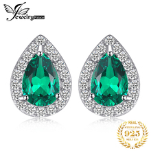 JewelryPalace 0.85ct Created Emerald Stud Earrings Charm 925 Sterling Silver Fine Jewelry Fashion Water Drop For Women