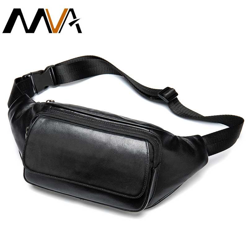 MVA Men's Waist Bag For Men Waist Packs Men's Belt Bag Leather Bum Bag Man Belt Pouch Black Fanny Pack Male Hip Bags Chest Bags