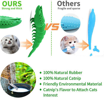 Soft Natural Rubber Mint Fish Catnip Clean Teeth Toothbrush Oral Care 1