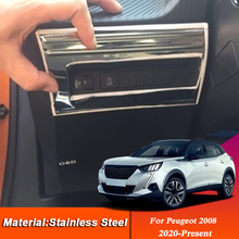 Car Styling For Peugeot 2008 2019-Present Car Headlight Switch Sequin Trim Multi-function Button Sequin Sticker Auto Accessories