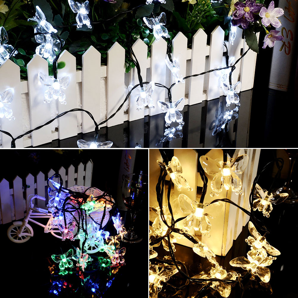Solar Powered 20 LED Romantic Butterfly Xmas Party Decor String Light