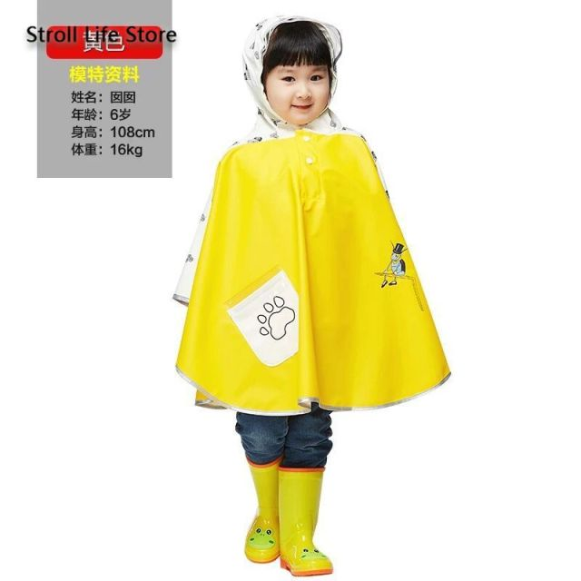 Long Rain Coat Kids Poncho Yellow Girls Cute Children Raincoat Rain Boots Waterproof Suit Rainwear Capa De Chuva Birthday Gift 5