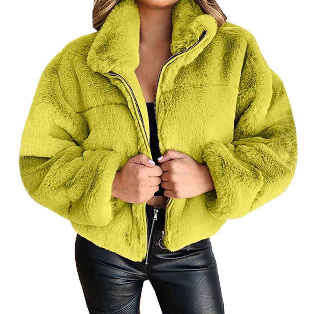 Autumn Winter Women Faux Fur Coat Warm Soft Zipper Jacket Ladies Furry Teddy Coat Overcoat Casual Soft Plush Warm Outerwear Women Women's Clothings Women's Sweaters/Coat cb5feb1b7314637725a2e7: Blue|gray|Khaki|Pink|YELLOW