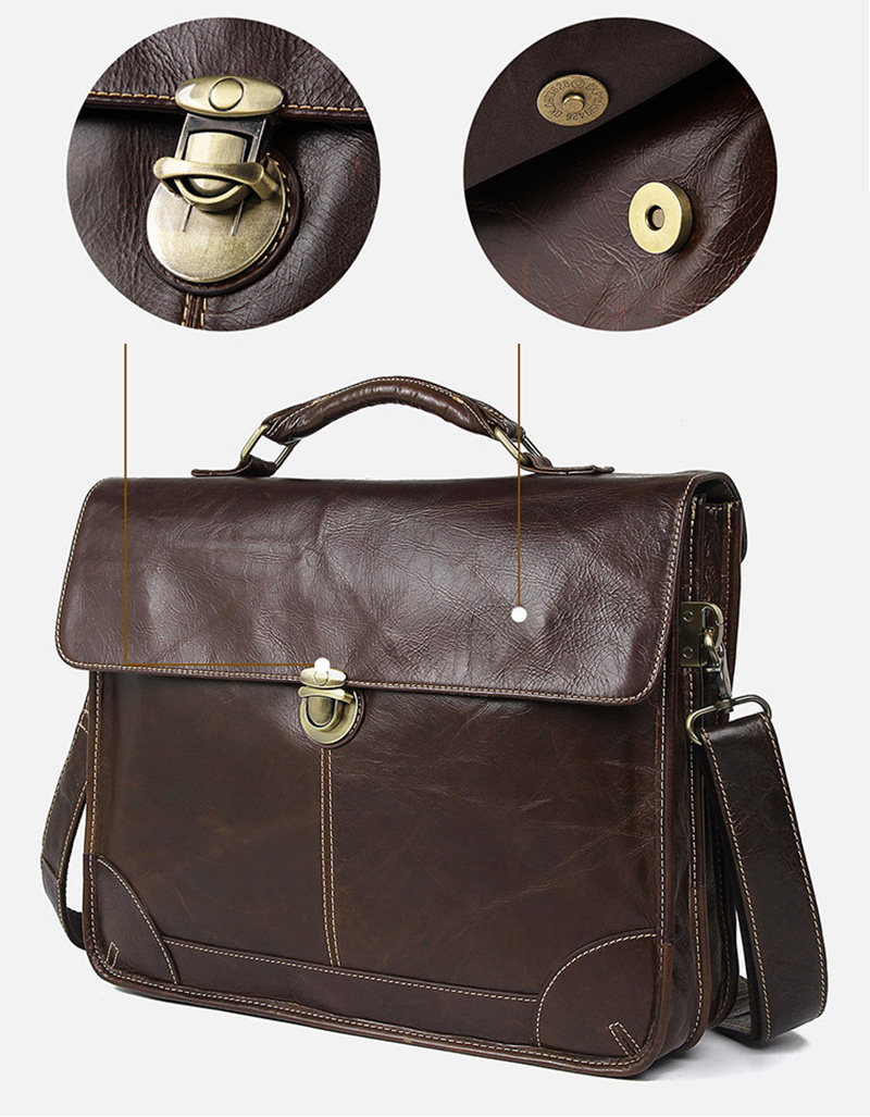 """Hc5041126c6d54ed6ab3a23878380f58fs Men's genuine leather briefcase 16"""" Big real leather laptop tote bag Cow leather business bag double layer messenger bag"""