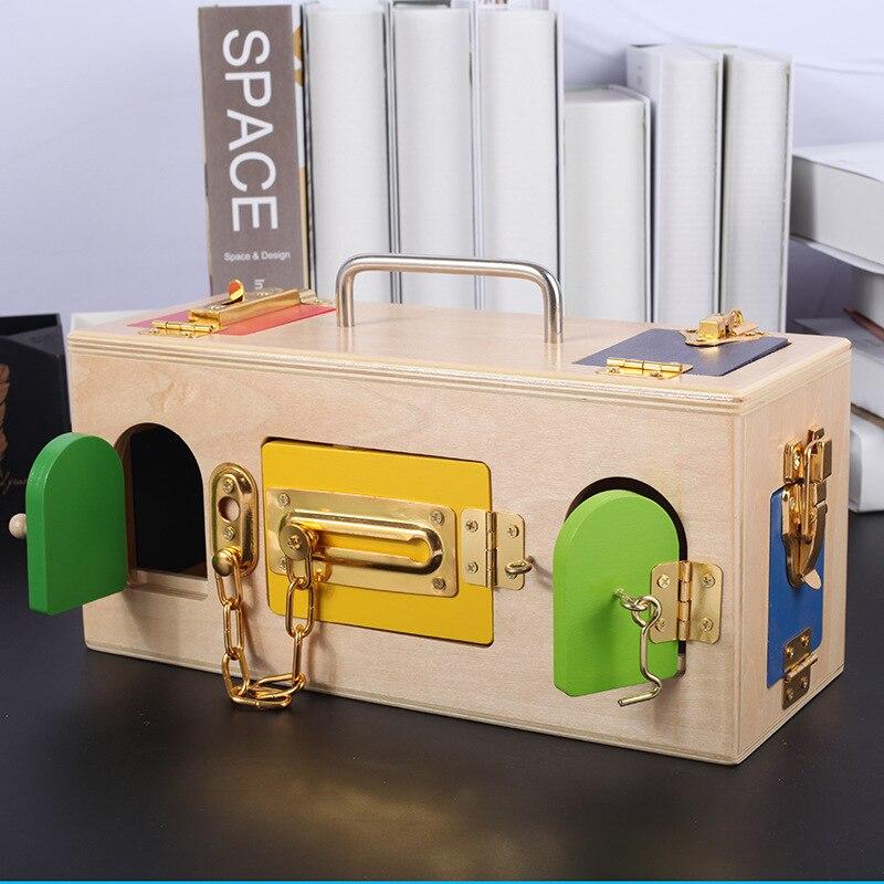 Montessori Education3 à 6 ans enfants éducatifs en bois enseignement boîte de verrouillage jouet bébé apprendre à débloquer la pratique