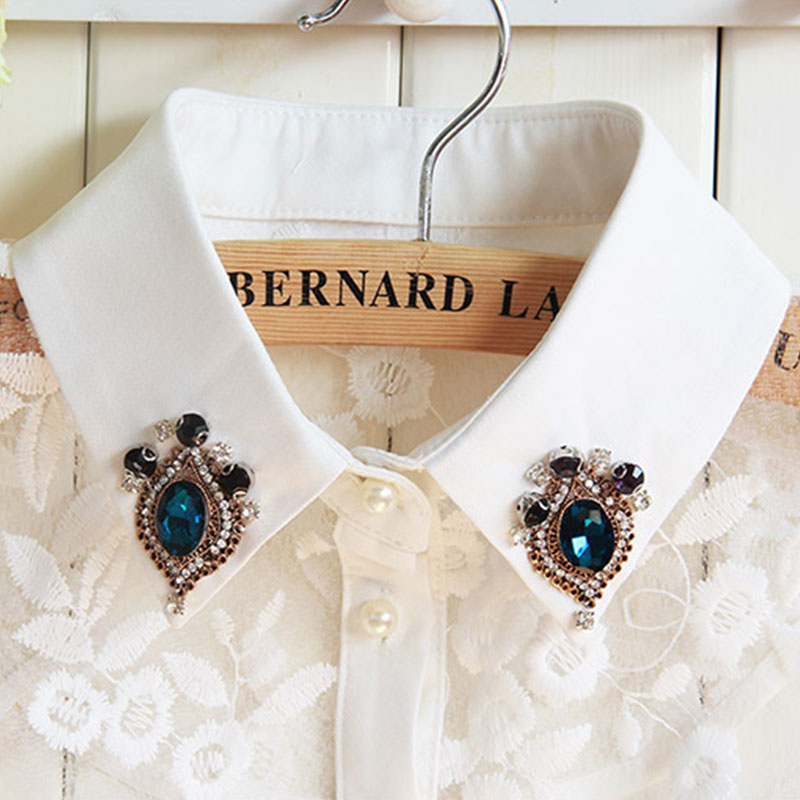 Korean Women Detachable Collars Diamond Crystal Pearls Cowboy Shirt Detachable Shirt Sweater Fake Collar