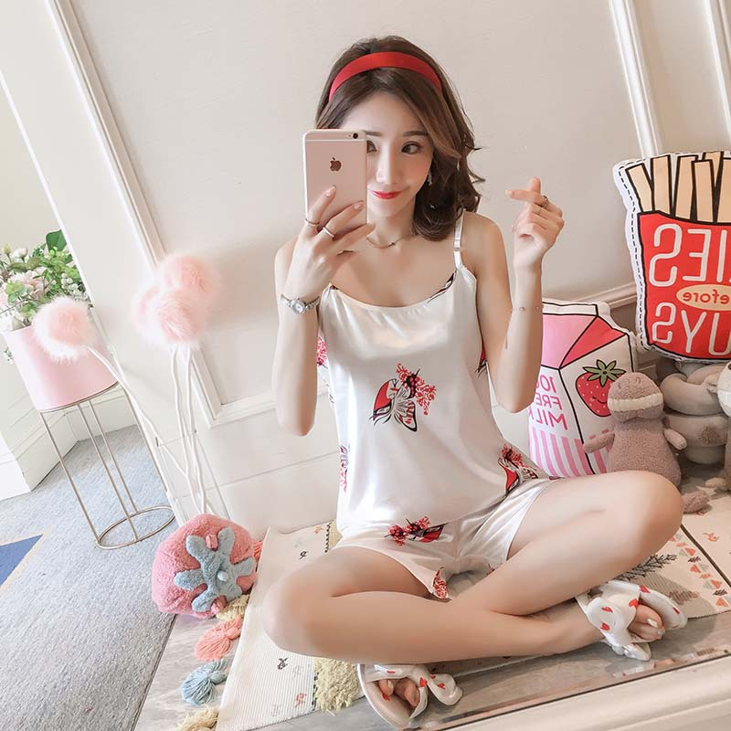 Imitated Silk Fabric Spaghetti Strap Pajamas Women's Summer Thin Section Shorts Home Wear-Outer Wear Students Korean-style Two-P