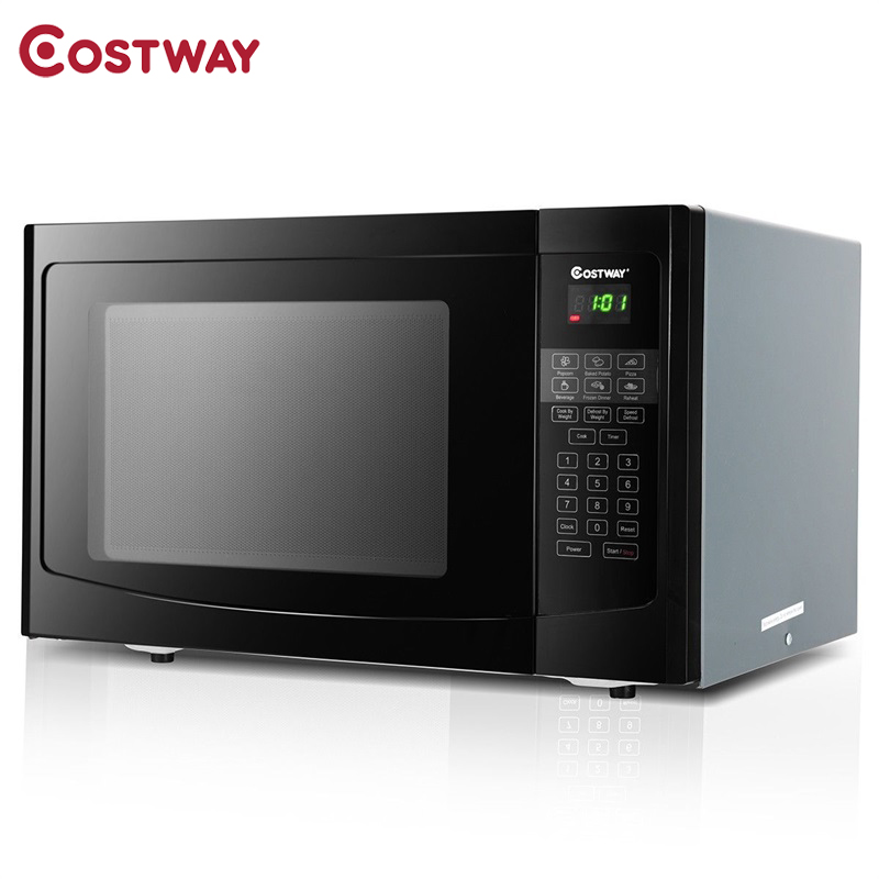 COSTWAY 1.1 Cu Ft Programmable Microwave Oven 1000W LED Display 6 Quick Cook Settings Sensor Reheating Microwave Ovens EP23618