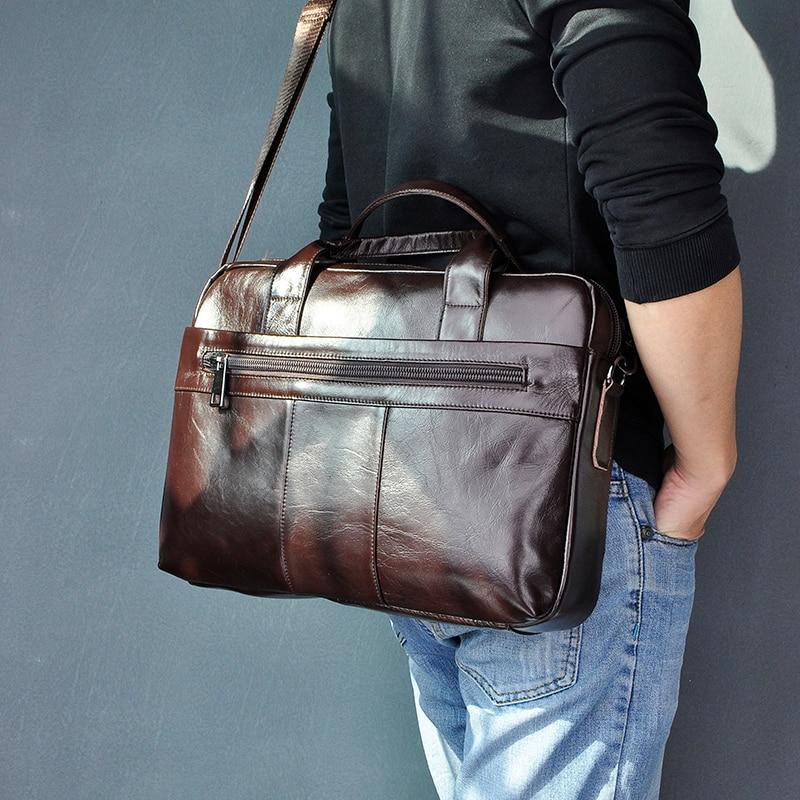 "Genuine Leather Fashion Design Men Coffee Briefcase Business 15"" Computer Laptop Case Attache Messenger Bag Portfolio 9022-b"