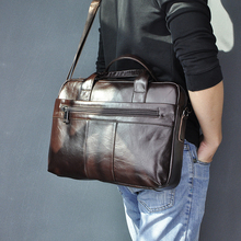 Genuine Leather Fashion Design Men Coffee Briefcase Business 15