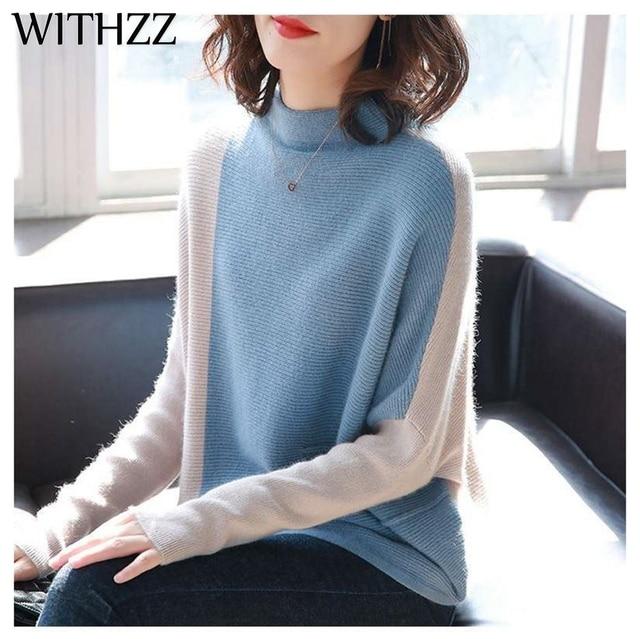 WITHZZ otoño invierno abrigo de cuello alto contraste Color suéter con manga de murciélago Bottoming suéter para las mujeres pulóver ropa Top