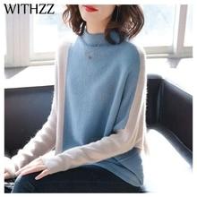 WITHZZ סתיו חורף מעיל גבוהה צווארון ניגודיות צבע סוודר בת שרוול השפל סוודר לנשים נקבה בסוודרים בגדים למעלה