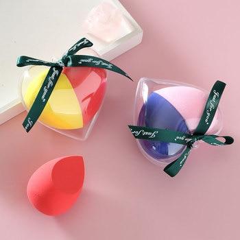 2pcs/set Makeup Sponge Heart-Shape Box Non-Latex Material Cosmetic Puff Powder Foundation Use Beauty Make Up Tools