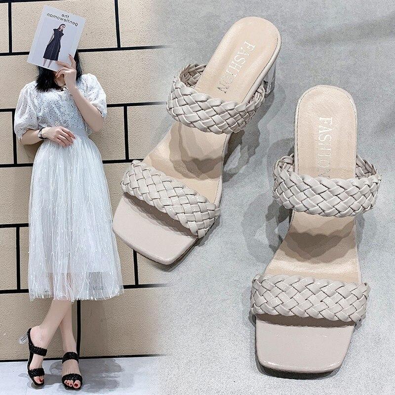 Sandálias femininas oco sapatos moda aconchegante tecer couro peep toe tornozelo cinta senhoras salto quadrado bombas tamanho