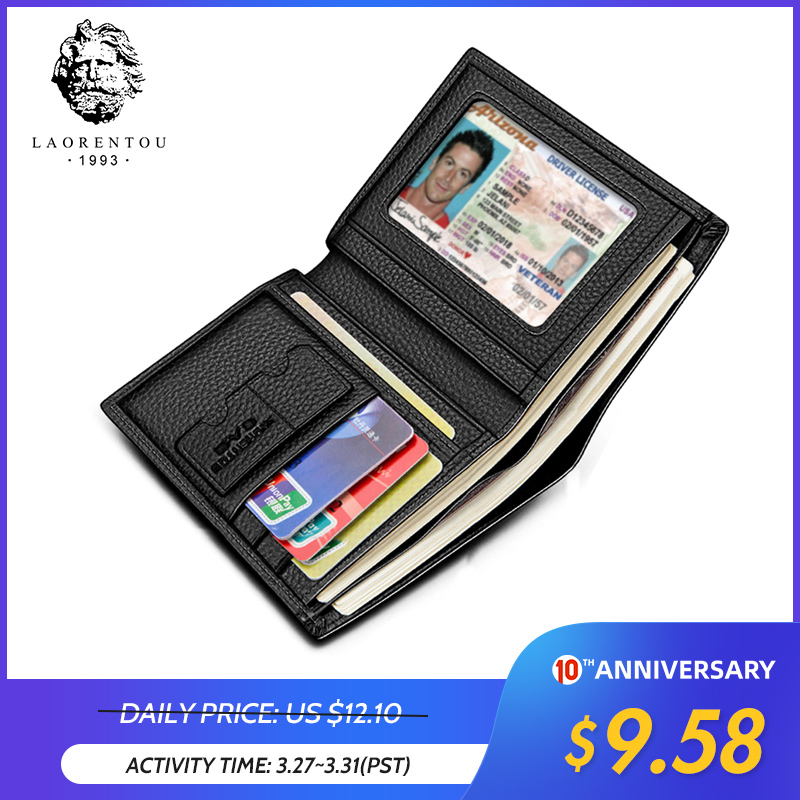 Laorentou Men Wallet Genuine Leather Casual Wallet For Men Short Wallet Standard Wallets Card Holders Vintage Luxury Man Purse