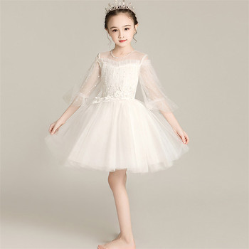 2~13Ys Little Kids Baby Infant Solid White Color Beading Design Wedding Birthday Party Fluffy Dress Infant Host Piano Prom Dress
